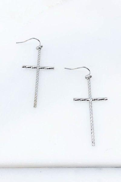 Brass Textured Cross Earrings