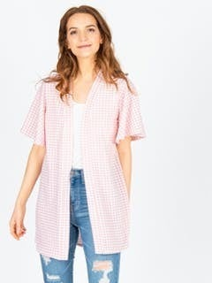 Pink Gingham Flutter Sleeve Cardi *Final Sale*
