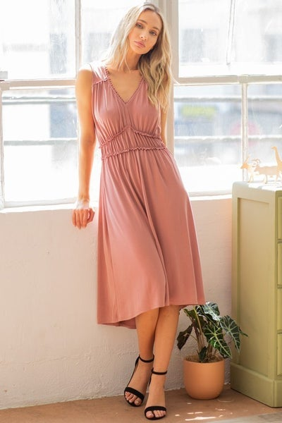 CY Fashion Mauve Tiered Midi Dress