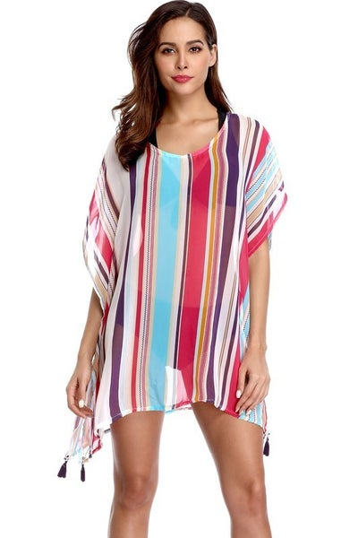 Charmo Striped Chiffon Coverup One Size