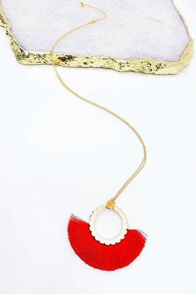 Scallop Fan Tassel Necklace