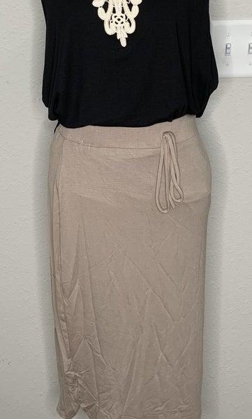 Khaki Elastic Waist Pencil Skirt