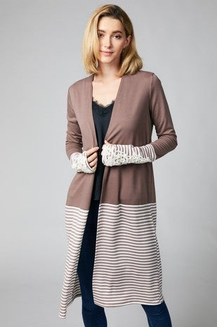 Striped Cardigan with Contrasting Lace Sleeves