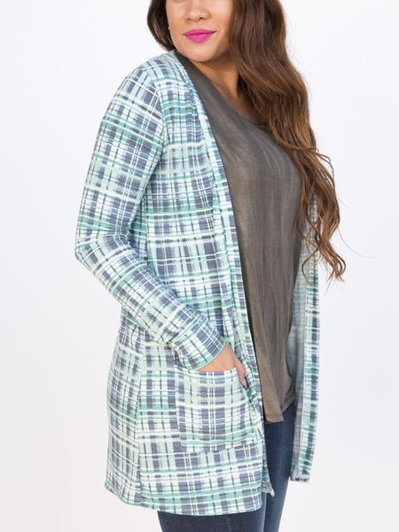 Essential Cardigan Teal Plaid *Final Sale*
