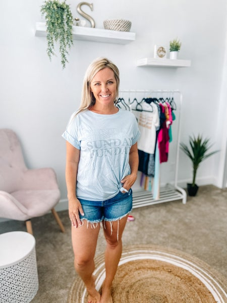 Sunday Funday Graphic Tee in Dusty Blue