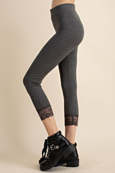 Charcoal Laced Bottom Jersey Leggings
