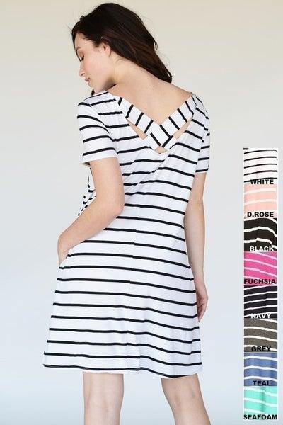 Yelete Striped Short Sleeve Tunic Dress in White/Black