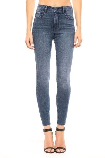 Cello High Rise Straight Cut Ankle Skinny Jeans