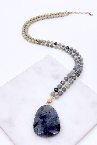 Wood, Glass & Semi Precious Stone Necklace