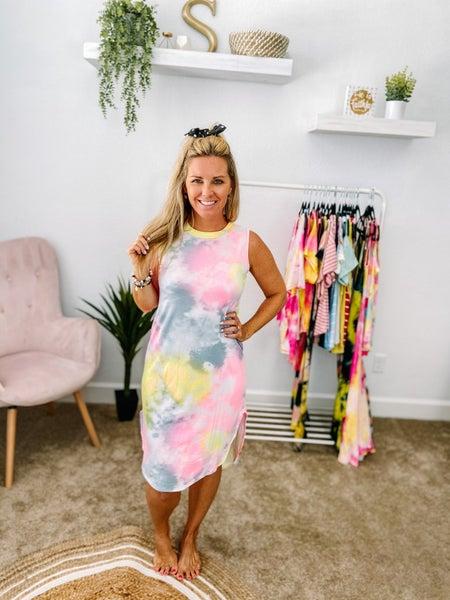 CY Fashion Tie Dye High Low Tank Dress