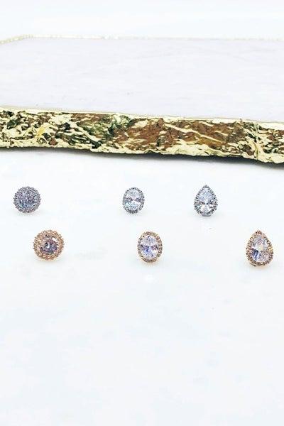 CZ Stones Post Earrings Earrings