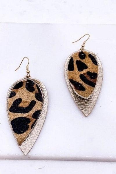 Leopard Leather Earrings
