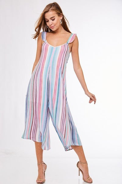 BACK TIE TURQUOISE STRIPED JUMPSUIT ROMPER *Final Sale*