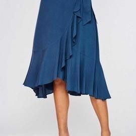 Slate Blue Solid Overlap Ruffle Skirt