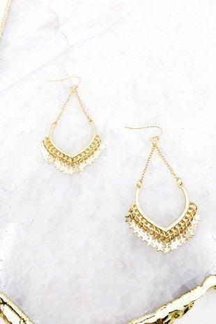 Multi Star Charm Earrings in Worn Gold