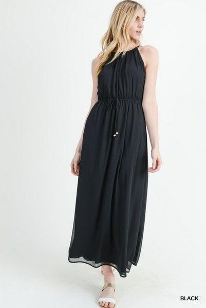 Jodifl Black Solid Chiffon Halter Maxi Dress