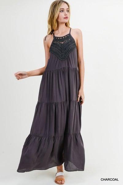 Lace Yoke Halter Maxi Dress in Charcoal