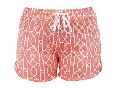 Hello Mello Coral/White Lattice Shorts