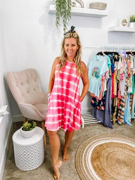 Yelete Tie Dye Swing Dress with Pockets