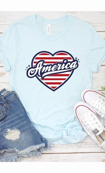 American Flag Heart Graphic Tee