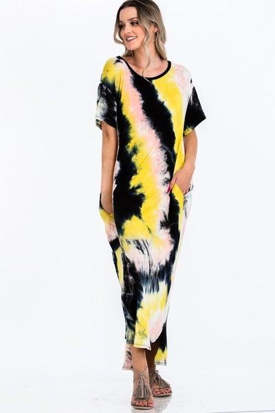CY Fashion Tie Dye Maxi Dress with Pockets