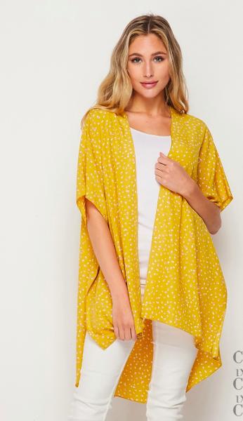 Honeyme Mustard Open Front Kimono
