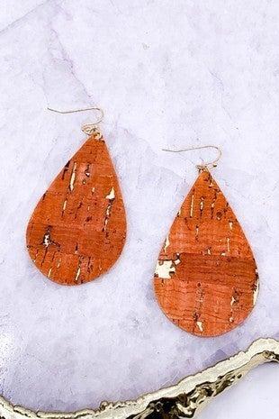 Cork Foil Teardrop Earrings
