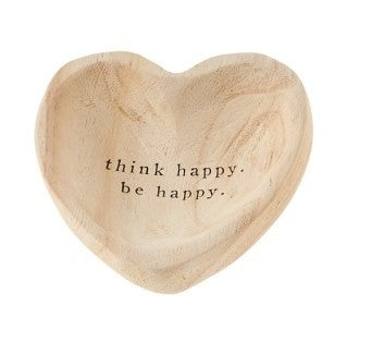 Think Happy Be Happy Wood Trinket Tray