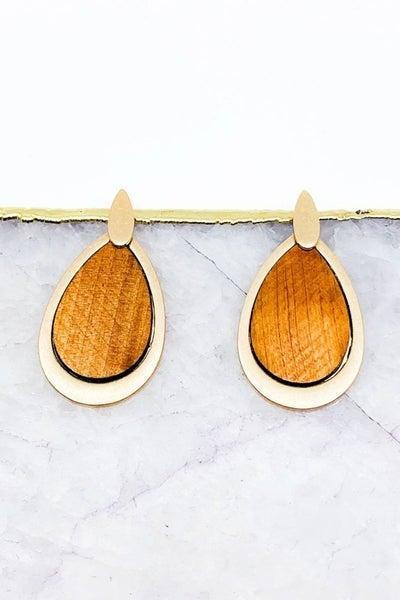Wood Teardrop Earring