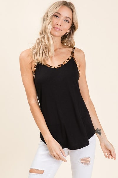 BomBom Black Solid Tank with Animal Print Trim