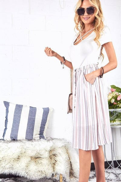 P.S. Kate Stripe Woven Skirt