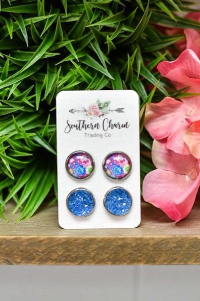 Blue & Pink Flower Sparkles