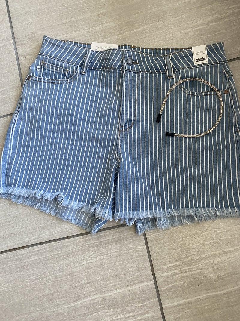 So Stripe Cut Off Shorts *Final Sale*