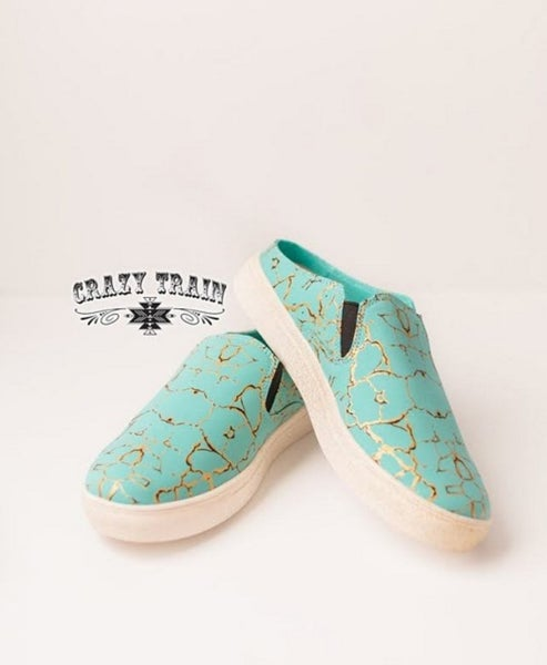 SALLY WALKER SLIP ON SHOES ** TURQ STONE