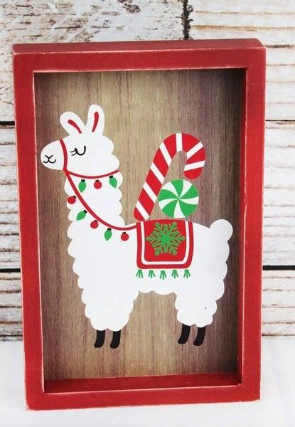 Holiday Llama Wood Box Sign