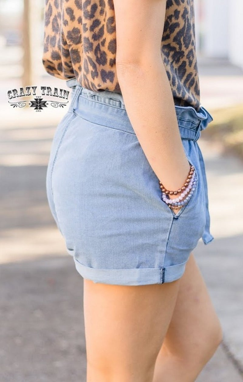The Bougee Blue Shorts** Denim