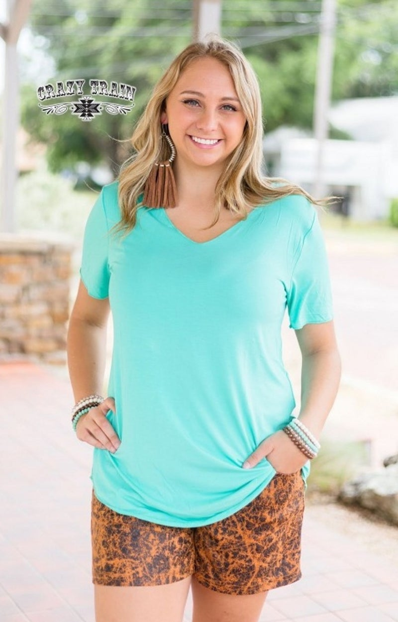 Turquoise Butter Basic Tee