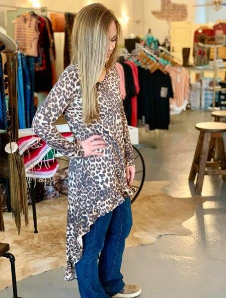 Leopard Ruffled Hi/Low Top