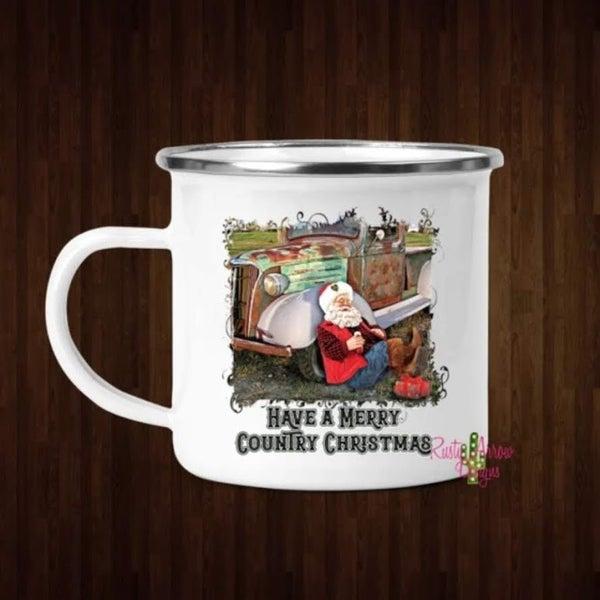 Merry Country Christmas Santa Coffee Mug