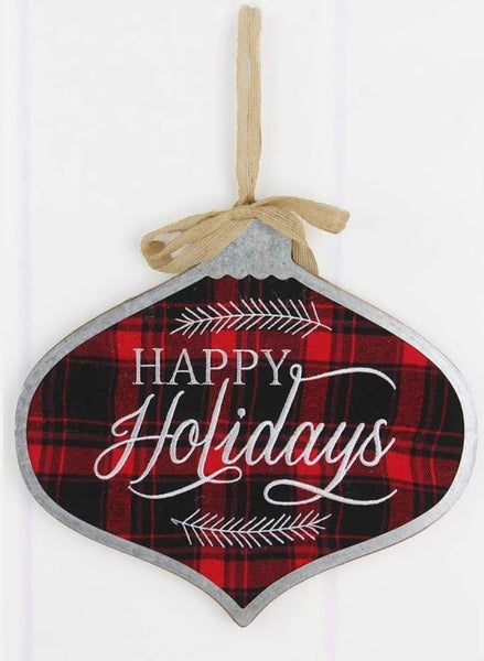 Happy Holidays Ornament Wall Sign