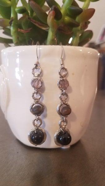 Black Beaded Dangle Earrings