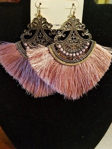"""Dusty Rose Thread Tassel Earring Size: 3.75""""L"""