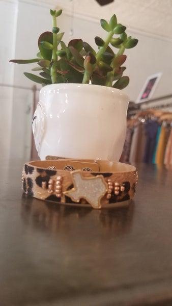 Druzy Texas State, Leopard Adjustable Button Bracelet