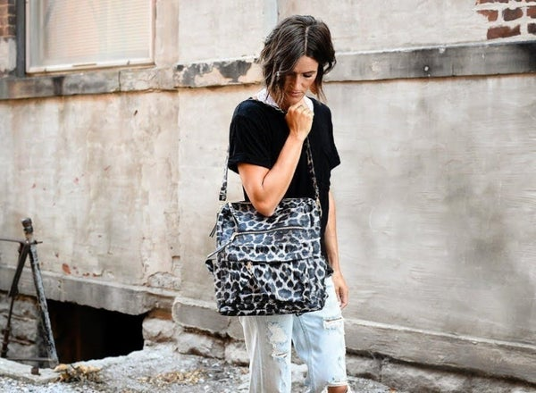 Gray Leopard Convertible Bag with Strap
