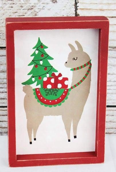 Christmas Day Llama Wood Box Sign