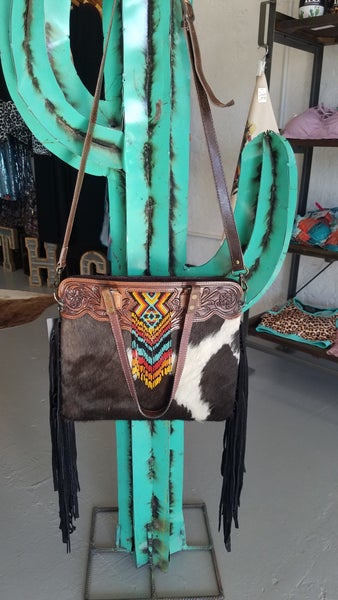 """""""The Loretta"""" Tooled Leather Cowhide Purse Tote with Bead Accent"""