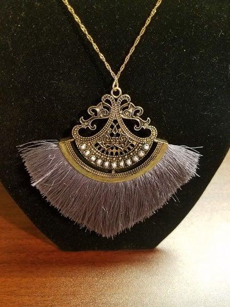 "Gray Thread Tassel Necklace  Size: 32""L (3""L extension) Pendant Size: 4""L"