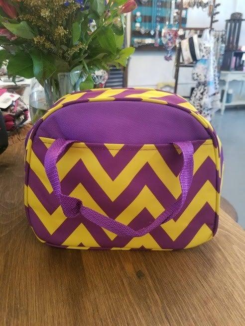 Purple/Yellow Chrevron Insulated lunchbag
