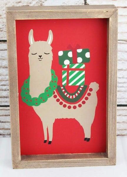 Festive Llama Wood Box Sign