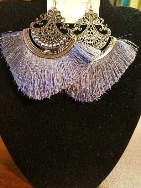 """Gray Thread Tassel Earring Size: 3.75""""L"""